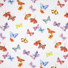 Sweet Butterfly - Watercolour - Butterfly print cotton fabric in white, orange, yellow, pink, purple, blue and grey