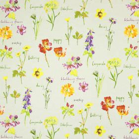 Wild Flowers - Linen - Wild flowers printed in shades of orange, yellow, pink, purple and green on a background of beige cotton fabric