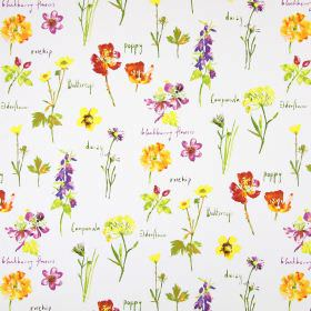 Wild Flowers - Watercolour - Cotton fabric in white, with a wild flower pattern in orange, yellow, green, pink and purple