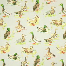 Mallard - Linen - Realistically coloured male and female ducks printed as a repeated pattern on beige fabric made from cotton