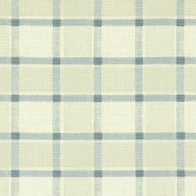 Fairford - Slate - Cotton fabric patterned with cream-beige coloured checks and a light grey grid