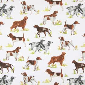 Hounds - Tan - White cotton fabric with a pattern of different breeds of hound dog, in brown, grey and white shades
