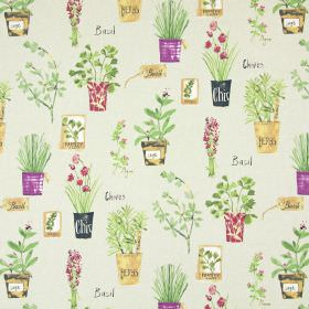 Herb Pots - Linen - Bunches and pots full of pink and green flowers and herbs printed on pale beige cotton fabric with a small amount of text
