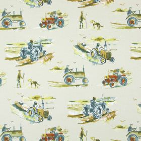 Harvest - Linen - Cotton fabric in off-white, with a farm print including brightly coloured tractors, farmers and dogs