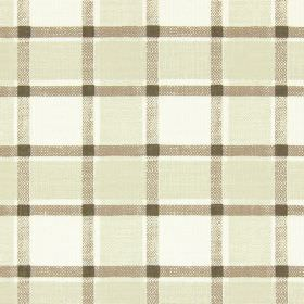 Fairford - Oatmeal - Cream cotton fabric printed with checks and a grid in several different shades of brown