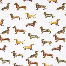 Daxi - Tan - Off-white cotton fabric printed with a design of brown, tan and grey daschunds