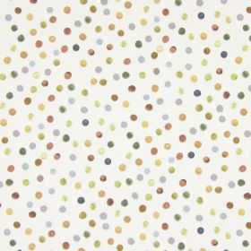 Melbury - Oatmeal - Brown, gold, green and grey dots scattered over a white fabric background made from cotton