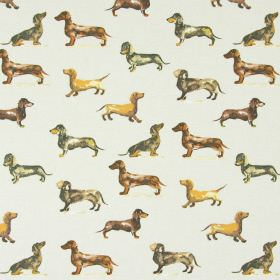 Daxi - Linen - Daschund print cotton fabric in shades of brown, tan and cream