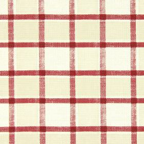 Fairford - Cranberry - A patchy marroon coloured grid printed over checked cotton fabric in two light shades of beige
