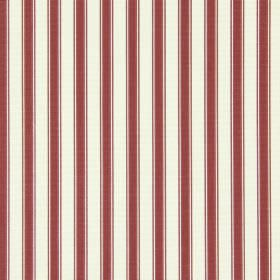 Cotswold - Cranberry - Off-white and dark red coloured cotton fabric with a regular striped pattern