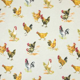 Hens - Linen - Chicken and rooster print cotton fabric with realistically coloured birds on a pale grey background