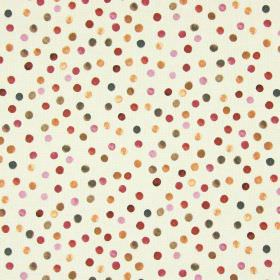 Melbury - Cranberry - Cotton fabric in grey-beige, randomly printed with dots of gold and dark shades of pink, purple, grey and blue