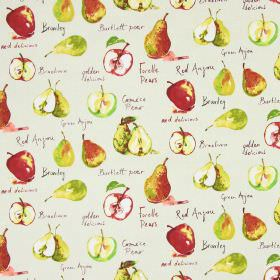 Autumn Fruits - Linen - Fruit print cotton fabric, with apples, pears and text in red and green on a beige coloured background
