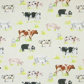 Farmyard Animals - Linen - Pigs, sheep, cows and milk urns printed on cotton fabric in a beige-grey colour