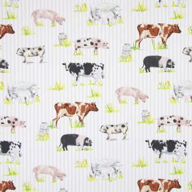 Farmyard Animals - Watercolour - Subtly striped grey and white cotton fabric, printed with a design of pigs, cows, grass, sheep and milk urn