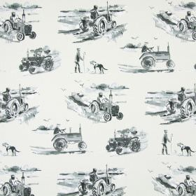 Harvest - Charcoal - A pattern of grey shaded tractors, farmers and working dogs printed on very pale grey-white coloured cotton fabric