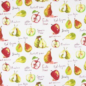 Autumn Fruits - Watercolour - White cotton fabric printed with apples, pears and text in shades of red and green