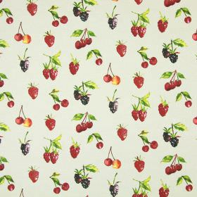 Summer Berries - Linen - Beige fruit print cotton fabric featuring brightly coloured cherries, blackberries, raspberries and strawberries