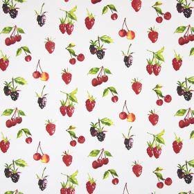 Summer Berries - Watercolour - Raspberries, blackberries, cherries and strawberries printed on cotton fabric in white