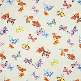 Sweet Butterfly - Linen - Stone coloured fabric made from cotton, with multicoloured butterflies printed in a random arrangement