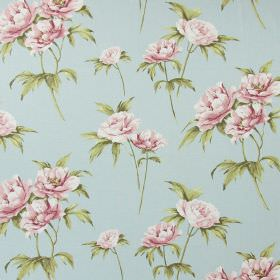 Somersby - Vintage Blue - Large pink flowers and green leaves printed as a realistic pattern on pale blue fabric made from cotton