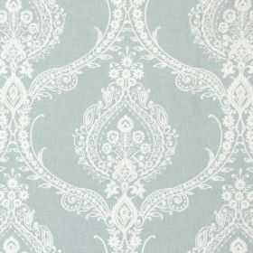 Arley - Azure - Fabric in duck egg blue-grey, with a detailed, intricate design of flowers, curves and swirls in white
