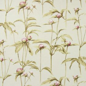 Clarendon - Vintage - Very pale grey cotton fabric, printed with pale green-grey shaded leaves and flower buds in pink