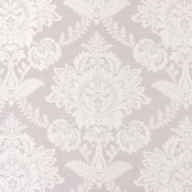Devonshire - Dusk - Fabric in a very pale pink-purple colour, with a large, white flower type design which is very intricate
