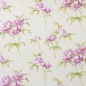 Somersby - Rose - Floral print cotton fabric in pink and green against a background of off-white