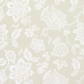 Oakmere - Parchment - Ornate white flowers as a large pattern on fabric in a gold-beige colour