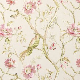Dovedale - Rose - Green and pink shaded birds, leaves, flowers and branches on cotton fabric in white