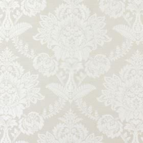 Devonshire - Limestone - A pattern which is ornate, white, large and floral in design on a fabric background in a very pale shade of green