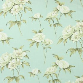 Somersby - Duck Egg - Realistic flowers and leaves in cream and green against a duck egg blue coloured cotton fabric background