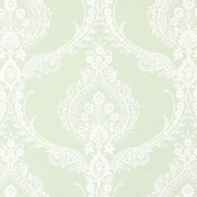 Arley - Willow - A pattern of intricate, detailed flowers, swirls and curves on top of very pale green fabric