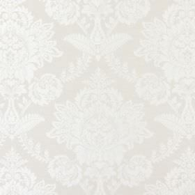 Devonshire - Ivory - Cream and white coloured fabric with a large, ornate floral type pattern