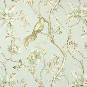 Dovedale - Duck Egg - Cotton fabric in pale blue, with a pattern of very pale pastel coloured birds, butterflies, leaves, flowers and branch