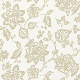 Oakmere - Stone - A brown pattern on a white fabric background, featuring a design of ornate florals