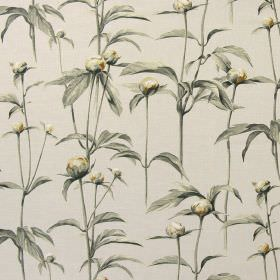 Clarendon - Flannel - Off-white cotton fabric featuring a design of large grey leaves and yellow-gold buds