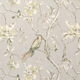 Dovedale - Flannel - Very pale green, grey and cream shaded flowers, leaves, branches and butterflies printed on light grey cotton fabric