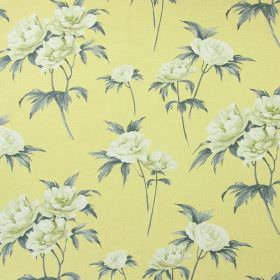 Somersby - Mimosa - Cream flowers and grey leaves printed on cotton fabric in lemon yellow