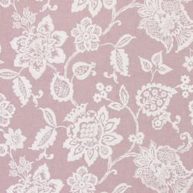 Oakmere - Dusk - Light pink-purple coloured fabric, patterned with large, ornate, white florals