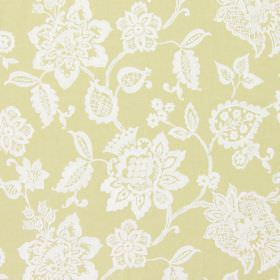 Oakmere - Mimosa - A pattern of large, white, intricate florals against a background of yellow-gold coloured fabric