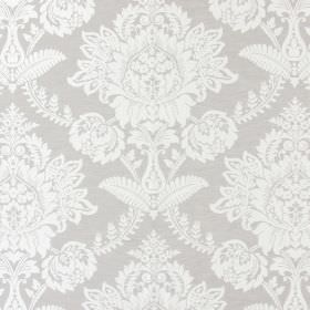 Devonshire - Linen - Grey fabric patterned with large, ornate, white floral designs