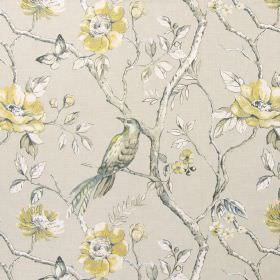 Dovedale - Mimosa - A design of birds, branches, flowers and leaves shaded in greys, yellows, greens and white on cotton fabric in grey