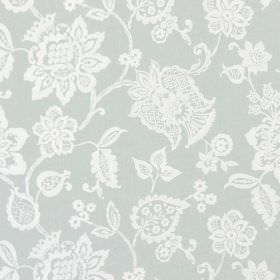 Oakmere - Duck Egg - White floral designs against a background of fabric in a light duck egg blue colour