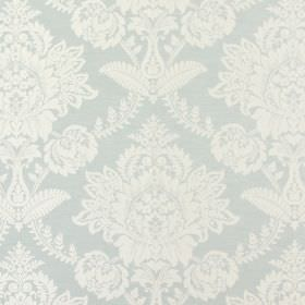 Devonshire - Duck Egg - Large, ornate white floral designs on a duck egg blue coloured background made from fabric