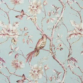 Dovedale - Vintage Blue - Floral, butterfly, bird, branch and leaf print cotton fabric in light shades of blue, pink, green and white