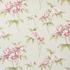 Somersby - Vintage - Off-white fabric made from cotton, printed with realistic pink flowers and green leaves