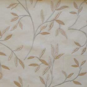 Hedge - Natural - Leaves and branches on natural white fabric