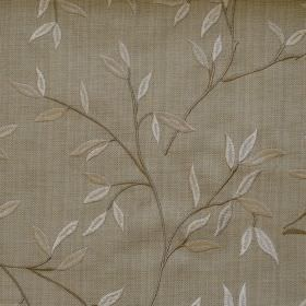 Hedge - Linen - Leaves and branches on linen coloured fabric